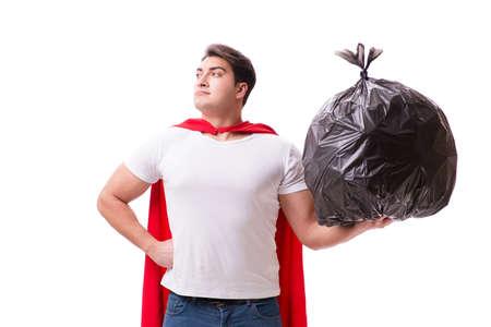 Uomo supereroe con sacco di spazzatura isolato su bianco Archivio Fotografico