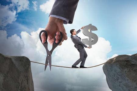 Man carrying dollar on tightrop