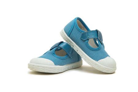 흰 배경에 고립 된 아기 신발