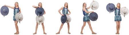 Collage de femme avec chapeau panama isolé sur blanc Banque d'images - 80056707