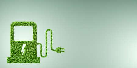 Elektrische auto concept in groene omgeving concept - 3D-rendering Stockfoto