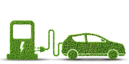 Electric car concept in green environment concept - 3d rendering Banque d'images