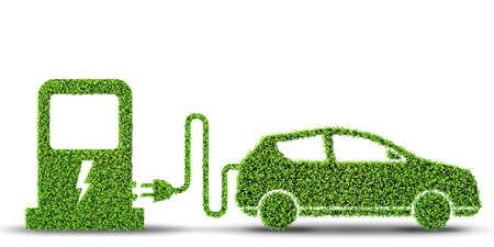 Electric car concept in green environment concept - 3d rendering Archivio Fotografico