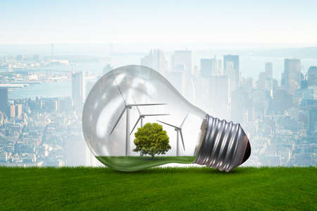 Lightbulb in alternative energy concept - 3d rendering
