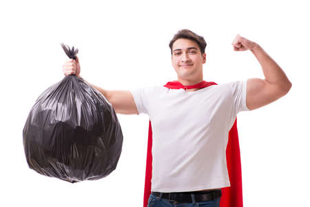 Superhero man with garbage sack isolated on white Imagens - 80504322