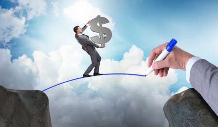 Hand tekenen brug onder zakenman
