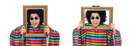 Funny mexican with photo frame isolated on white Stock Photo