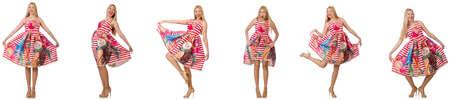 Collage de la femme dans look mode isolé sur blanc Banque d'images - 80512061
