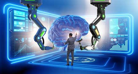 사업가와 인공 지능 개념 스톡 콘텐츠