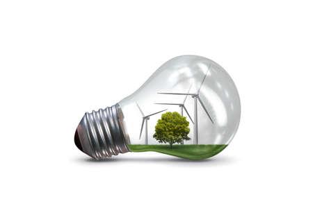 Lightbulb in alternative energy concept - 3d rendering Stok Fotoğraf - 80531615