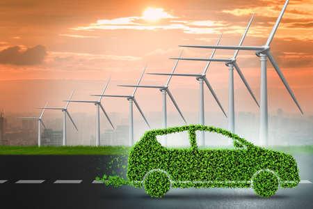 concept de voiture électrique avec des moulins à vent - rendu 3d Banque d'images