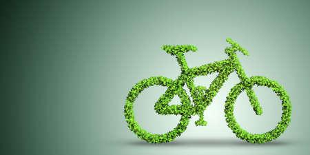 交通機関の概念 3 d レンダリングで緑の自転車 写真素材