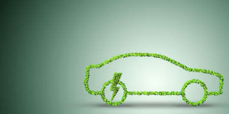 Electric car concept in green environment concept - 3d rendering Foto de archivo