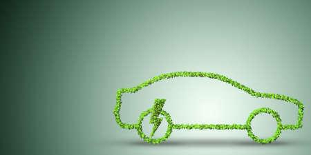 concept de voiture électrique dans le style de l & # 39 ; environnement vert - rendu 3d