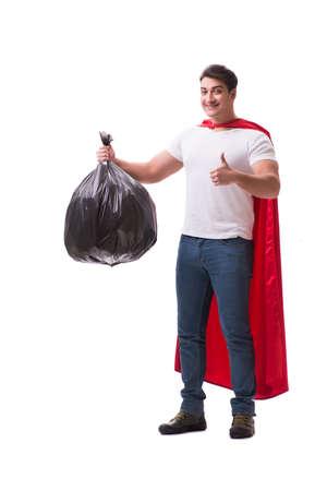 Superheld Mann mit Müllsack isoliert auf weiß Standard-Bild - 81310958