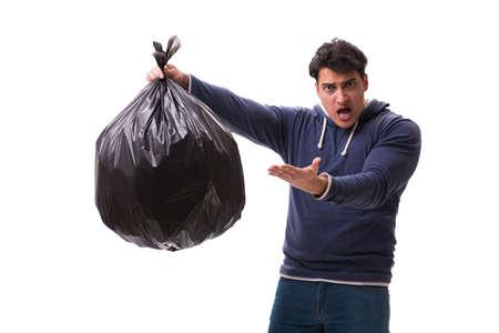 Man met vuilniszak geïsoleerd op wit Stockfoto - 81429733