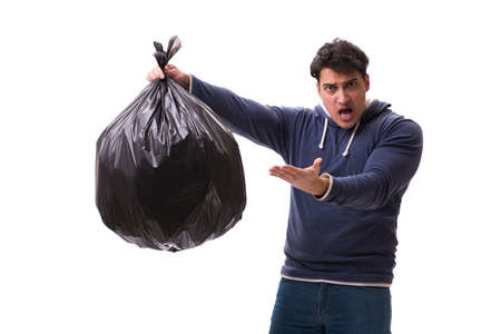 Man with garbage sack isolated on white Archivio Fotografico