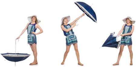 Collage de femme avec un parapluie isolé sur blanc Banque d'images - 81351260