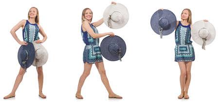 白で隔離パナマ帽子の女のコラージュ