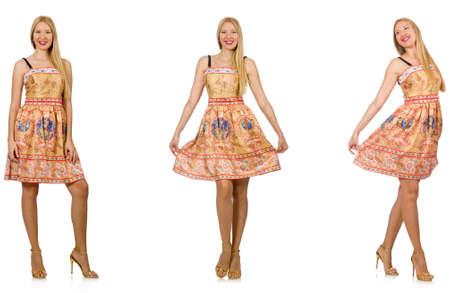 Femme à la mode semble isolé sur blanc Banque d'images - 81351341
