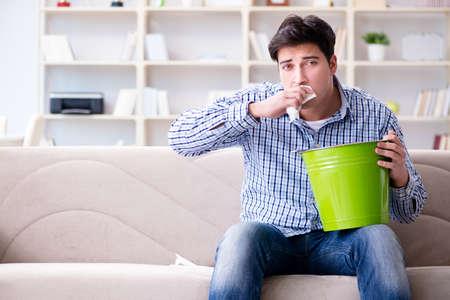 Homme souffrant d'estomac et de vomissement malades Banque d'images - 81734519