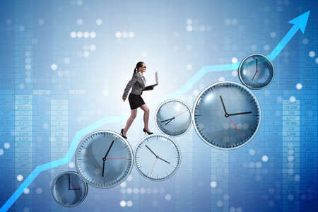 Businesswoman in time management concept Banco de Imagens - 81734247