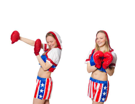 Female boxer isolated on the white background Stock Photo