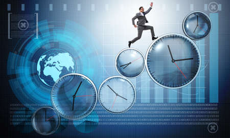 Businessman in time management concept Foto de archivo