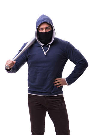 Young man hooligan with baseball bat isolated on white Stock Photo