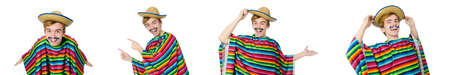 Funny young mexican with false moustache isolated on white Stock Photo