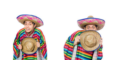 Funny mexican wearing poncho isolated on white