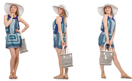 Collage de femme avec chapeau panama isolé on white Banque d'images - 81838248