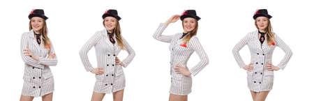 Belle fille dans des vêtements rayés isolé sur blanc Banque d'images - 82230188