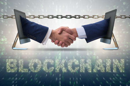 Concept blockchain in moderne zaken Stockfoto - 82234644