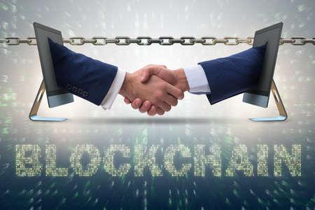Konzept der blockchain im modernen Geschäft Standard-Bild - 82234644