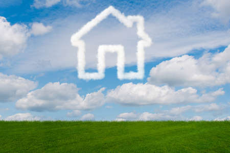 House in the sky made of clouds - 3d rendering Stock fotó - 82687472