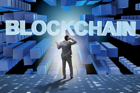 Businessman in blockchain cryptocurrency concept