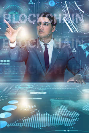 Businessman in blockchain cryptocurrency concept Stock Photo - 82754870