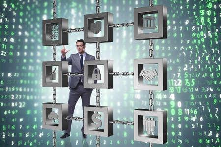 Geschäftsmann in blockchain cryptocurrency konzept Standard-Bild - 82740499