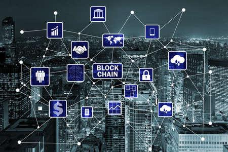 Blockchain concept in database management Zdjęcie Seryjne - 83136103
