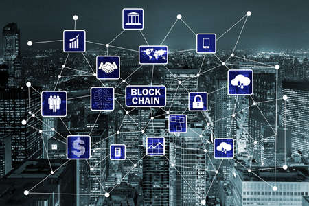 Blockchain-concept in databasemanagement Stockfoto - 83136103