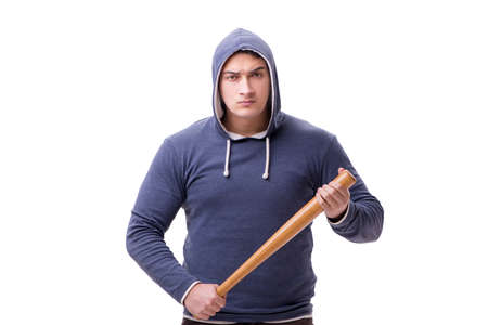 Young man hooligan with baseball bat isolated on white Banco de Imagens
