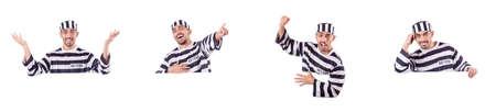 Convict criminal in striped uniform Stock Photo - 83134721