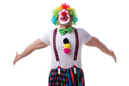 Grappige clown acting dwaas geïsoleerd op een witte achtergrond Stockfoto