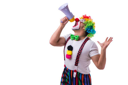 Funny clown with a megaphone isolated on white background Stock Photo - 83211876