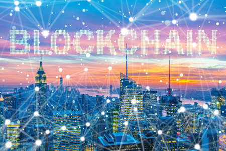 Blockchain concepto en la gestión de bases de datos Foto de archivo - 83532161