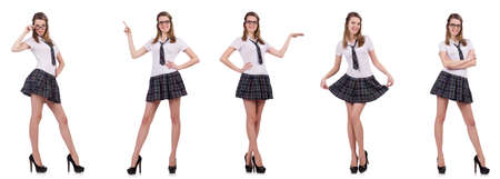 Young nice student female holding isolated on white Stock Photo