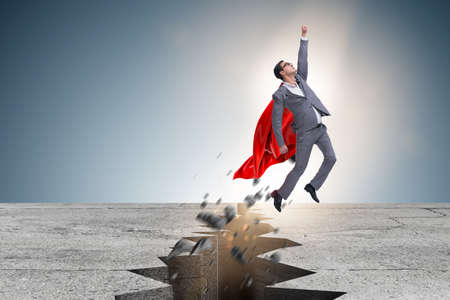 Superhero zakenman ontsnappen uit moeilijke situatie