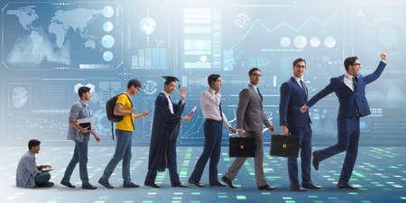 Business-Konzept mit Mann Fortschritte durch Stufen