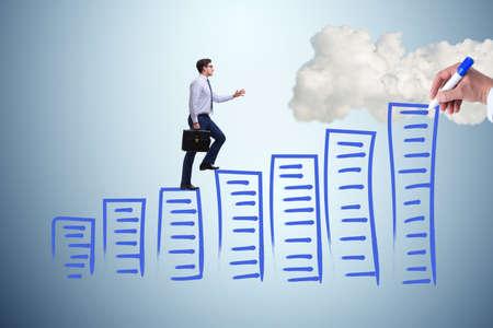 Businessman in career progress concept
